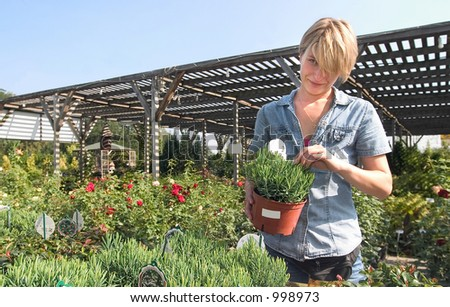 a young woman at the florist's.