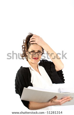 A young woman - business or student is stressed with a folder / directory in the hands