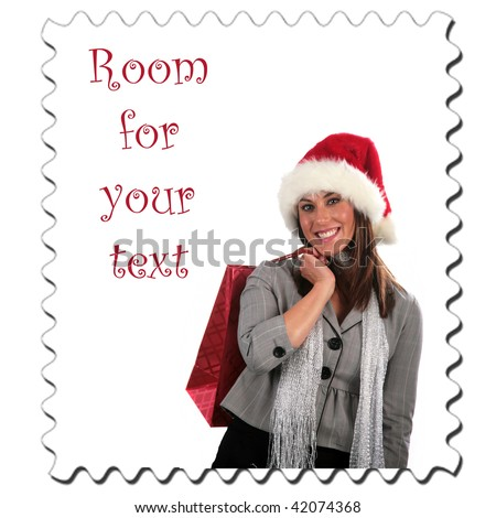 a young woman goes christmas shopping stamp with room for your text isolated on white