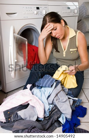 a young woman has wash-day