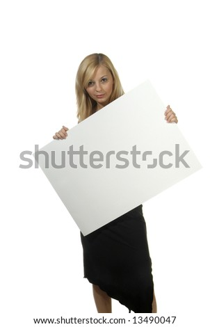 a young woman hold an empty white poster
