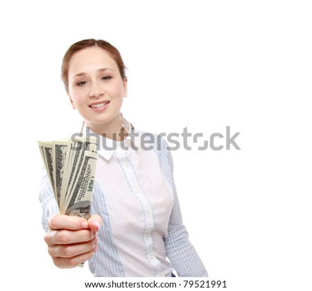 A young woman holding money, isolated on white