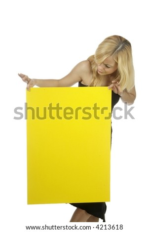 a young woman holds an empty poster