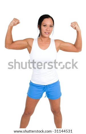 A young woman in white tank top and blue shorts shows off her biceps.