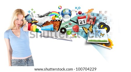 A young woman is holding a smart phone with different technology photos, icons and symbols coming out on a white background.