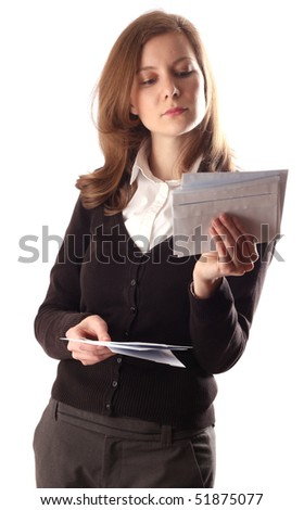 a young woman reading her post isolated on a white background.