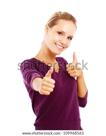 A young woman showing ok, isolated on white background