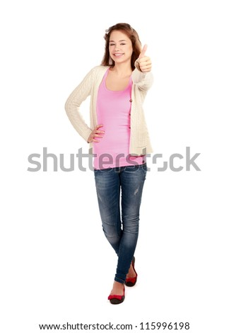 A young woman showing ok isolated on white background