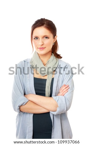 A young woman standing, isolated on white background - stock photo