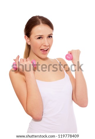 A young woman training , isolated on white background
