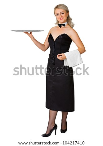 A young woman waiter with a tray isolated on white background