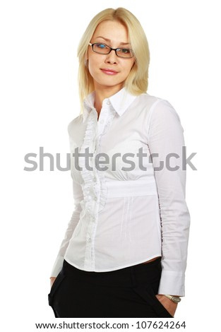 A young woman wearing glasses standing , isolated on white background