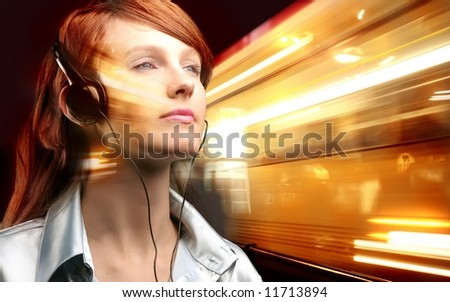 a young  woman with a ear-phones
