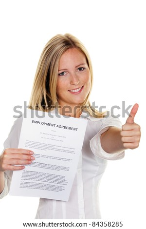 A young woman with a job during the interview was successful. In English