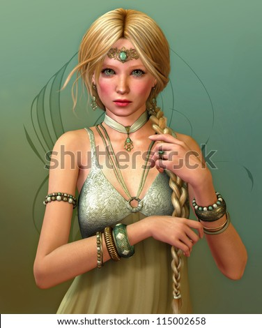 Stock Photo a young woman with a long braid and jewelries