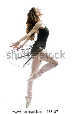a young wonderful ballerina is dancing gracefully - stock photo
