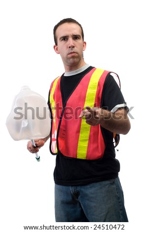 A young worker picking up garbage and pointing at the camera, isolated against a white background