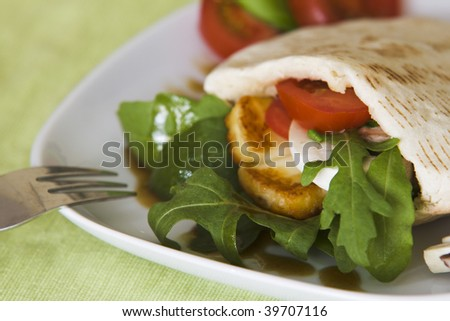 A yummy, delicious vegetarian sandwich made with a whole wheat pita.