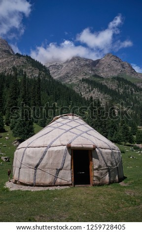 A yurt in a mountain