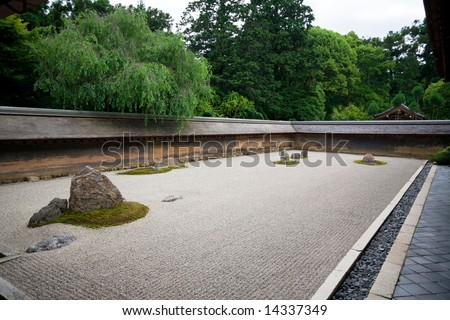 A Zen Rock Garden In Ryoanji Temple.In A Garden Fifteen Stones On ...