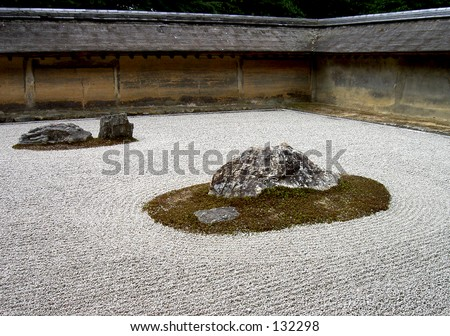 A zen rock garden in Ryoanji temple Kyoto,Japan