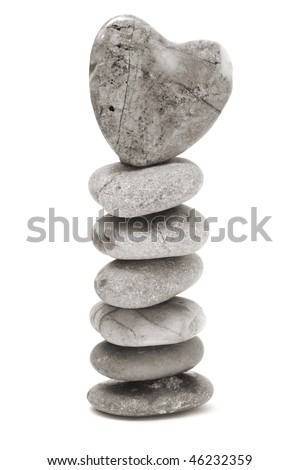 a zen stones with heart on a white background - stock photo
