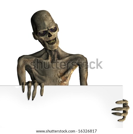 A zombie holds onto the edge of a blank sign - 3D render.