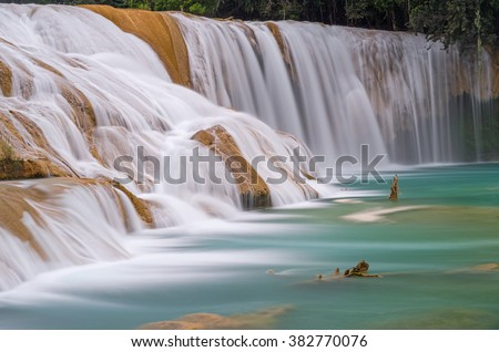 Shutterstock A zoomed-in view of the Agua Azul waterfalls in Mexico.