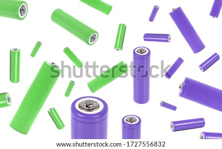 AA battery isolated on white background, with clipping path. alkaline batteries, AA-size close up, carbon zinc batteries, rechargeable batteries, mockup, violet and green colour