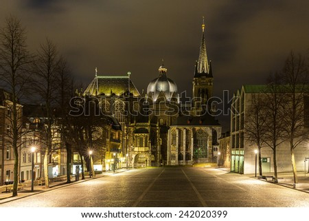 aachen aix la chapelle cathedral at night in winter aix la chapelle cathedral