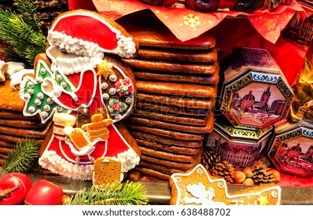 AACHEN, GERMANY-DECEMBER 15, 2014: Aachener Printen- Lebkuchen are similar to gingerbread, originally sweetened with honey, but for two centuries the tradition is to use a syrup made from sugar beets. #638488702