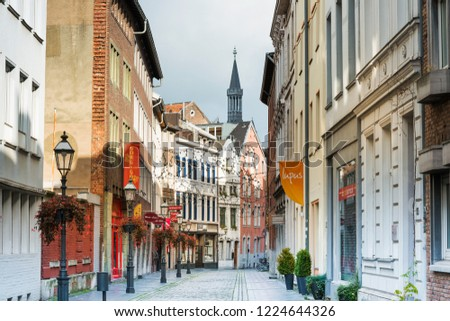 AACHEN, GERMANY - November 19, 2017: Street view of old town in Aachen, Germany #1224644326