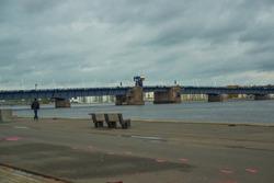 Aalborg, Denmark: Waterfront of Aalborg with the bridge to Noerresundby