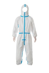 AAMI level 3 PP+ PE Disposable Protective Coverall Knit Cuffs Attached Hood White