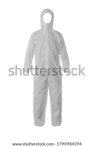 AAMI level 3 PP+ PE Disposable Protective Coverall Knit Cuffs Attached Hood White  Сток-фото ©