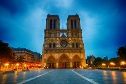 Aarea near Notre-Dame de Paris at night