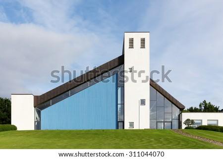 Aarhus, Denmark - June 12, 2015: Modern Skjoldhoj church in Aarhus, Denmark