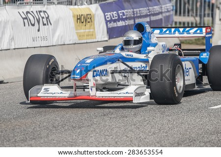 AARHUS, DENMARK - MAY 22 2015: Eddie McLurg in a  Arrows A18 formula one racing car from 1997 at the Classic Race Aarhus 2015