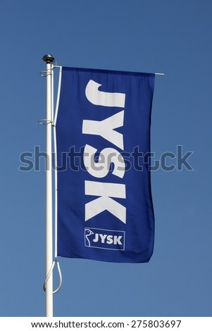 Aarhus, Denmark- May 1, 2015: Jysk store sign.  Jysk store is a danish retail chain, selling bedding, furniture and decoration