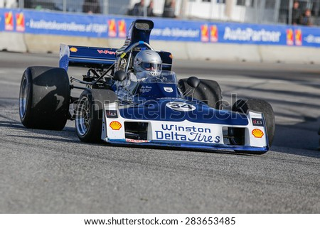 AARHUS, DENMARK - MAY 22 2015: Lord Gregory Thornton in a Surtees TS -11 formula one racing car at the Classic Race Aarhus 2015