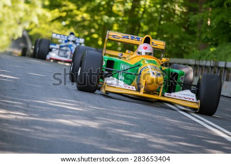 AARHUS, DENMARK - MAY 24 2015: Lorina McLaughlin in a Benneton B1992 formula one racing car at the Classic Race Aarhus 2015 - this car has previously been driven by Michael Schumacher