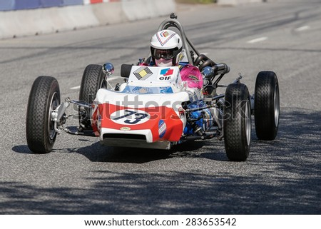 AARHUS, DENMARK - MAY 24 2015: Randall Lawson in a Renault GRAC formula one racing car from 1972 at the Classic Race Aarhus 2015