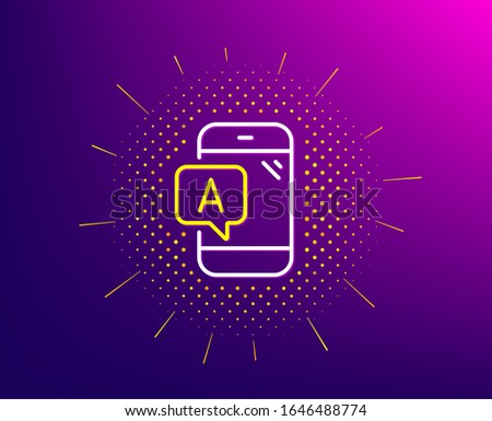 Ab testing line icon. Halftone pattern. Ui phone test sign. Gradient background. Ab testing line icon. Yellow halftone pattern.