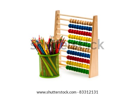 Abacus and pencils isolated on white