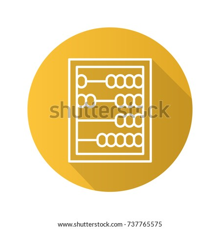Abacus flat linear long shadow icon. Raster outline symbol