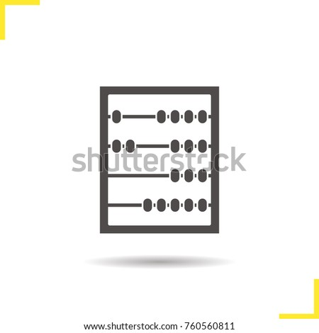 Abacus glyph icon. Drop shadow silhouette symbol. Negative space. Raster isolated illustration
