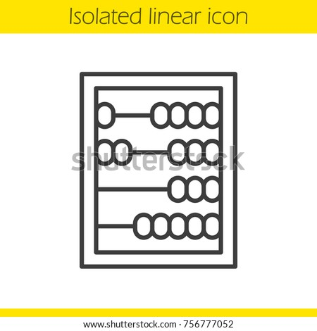 Abacus linear icon. Thin line illustration. Mathematics contour symbol. Raster isolated outline drawing