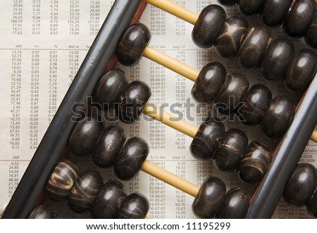 Abacus on page with stock figures
