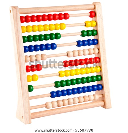 Abacus with multicolored beads and wooden frame - stock photo