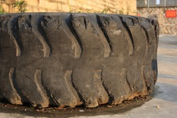 abandon huge tire on the ground